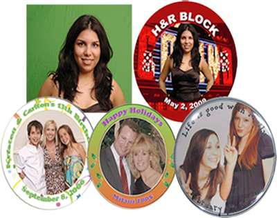 Photo buttons for parties in Dallas TX