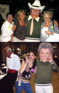 Guests posing with human bobble heads at Dallas Fort Worth Event