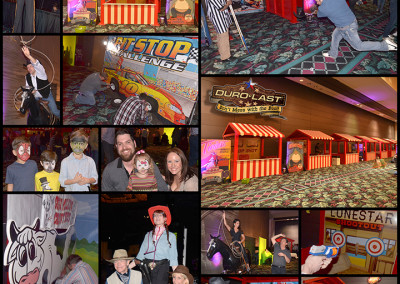 Durolast Party Carnival Games -  - We supplies the 9 carnival wood tents (we built) w/ games, staff, boogie heads,  roller roper,  an arcade striker game, face painter, balloonists and stilt walkers.