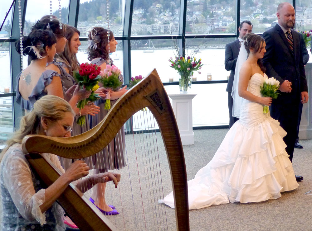 harp musician playing at wedding ceremony